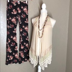Boho lace kimono and floral bellbottoms